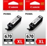 GENUINE Canon PGI670XL Black Ink Tank Cartridge Twin Pack